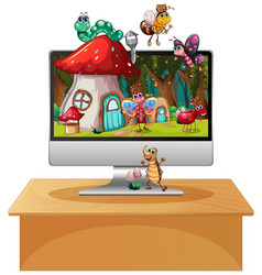 happy insect on computer background screen vector image