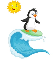 Happy penguin cartoon surfing vector