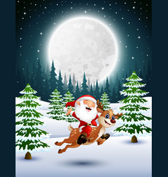 Happy santa claus riding a reindeer on a snowy gar vector