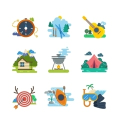 Hiking camping flat icons collection vector image vector image