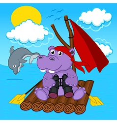 hippo on raft vector image