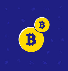 illsutrated trendy flat two coins bitcoin symbol vector image