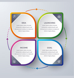 infographic design with 4 process or steps vector image