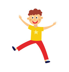 kid boy dancing jumping and having fun isolated vector image