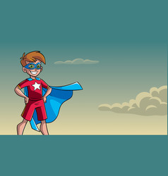 Little super boy sky background vector