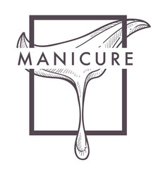 Manicure isolated icon beauty salon and nail and vector