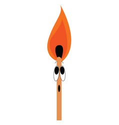 match on fire on white background vector image