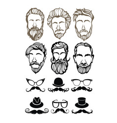Men hairstyle silhouettes vector