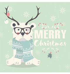 Merry Christmas postcard with hipster polar bear vector image