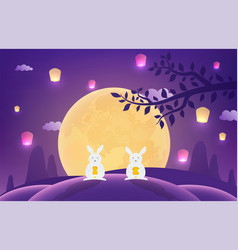 mid-autumn festival rabbits on blue background vector image
