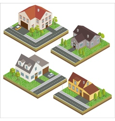 Modern House Modern Home Isometric Cottage Set vector image vector image