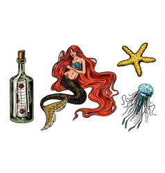 nautical mermaid and marine bottle jellyfish and vector image