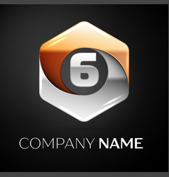 number six logo symbol in the colorful hexagonal vector image