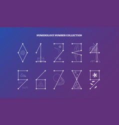 Numerology numbers with symbolic meaning design vector