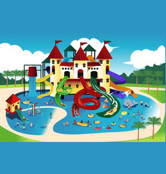 people going to water park vector image
