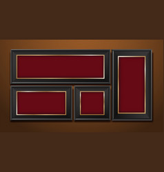 picture frames on brown wall vector image