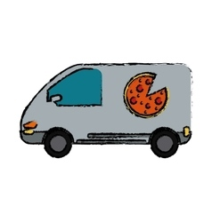 pizza delivery car van service drawing vector image
