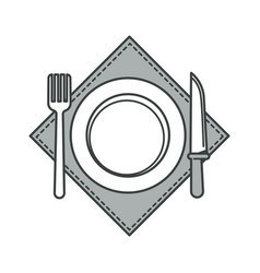 Plate with fork and knife on napkin cutlery vector
