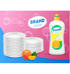 realistic detailed 3d dishwashing liquid soap card vector image