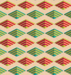 Retro fold rounded striped diamonds vector image