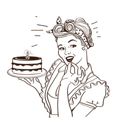 Retro smiling housewife holding big cake in her vector