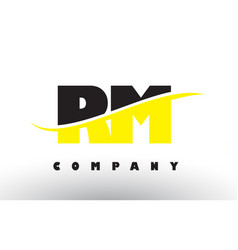 Rm r m black and yellow letter logo with swoosh vector