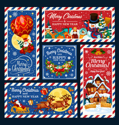 santa on xmas sleigh and air ballon with gifts vector image