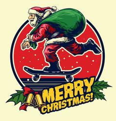 santa skate badge design vector image