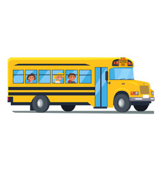 School bus with kids sitting near windows vector