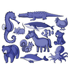 Set many animals in blue vector