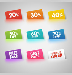 Set of colorful Sale labels in pocket vector image vector image