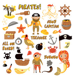 Set of pirates cartoon objects adventures vector