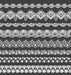 Set of seamless borders black and white lace vector
