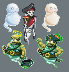 Set of three figures of pirates and two ghosts vector