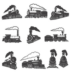 Set vintage trains isolated on white background vector