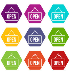 sign open icon set color hexahedron vector image