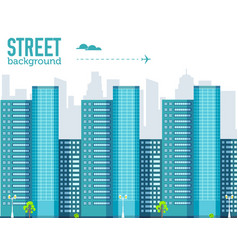 skyscraper building in city space with road on vector image