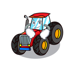 Smirking tractor character cartoon style vector