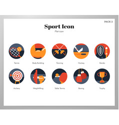 Sport icons flat pack vector