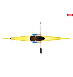 Sprint single kayak with paddler vector