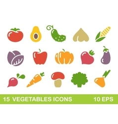 Stylized icons of vegetables icons vector image