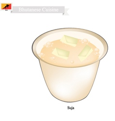 Suja or Bhutanese Butter Tea with Salted Flavor vector image