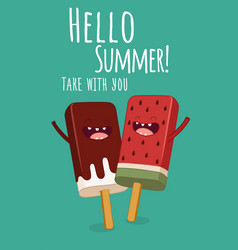 Summer greeting card cute with vector