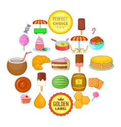 tasty pastry icons set cartoon style vector image