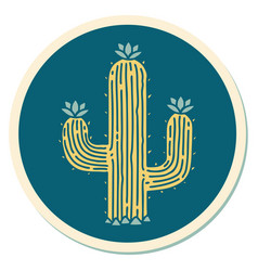 Tattoo style sticker a cactus vector