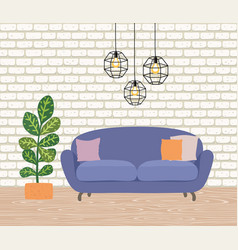 The interior room with a yellow sofa lamps vector