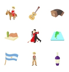 Tourism in Argentina icons set cartoon style vector image