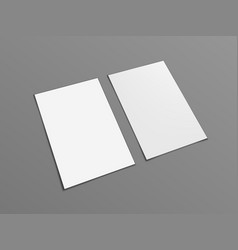 Two blank portrait a4 white paper isolated on gray vector