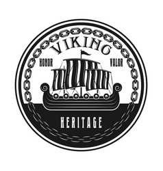 vikings ship or drakkar boat round emblem vector image