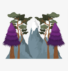 Wanderlust landscape with trees and ice mountains vector